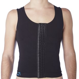 Corset with hooks made as sleeveless tank top to support cracked or broken ribs