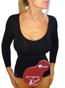 Maglia maniche lunghe termica contenitiva da donna, anticellulite e snellente in emana bioFIR